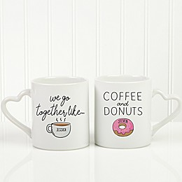 We Go Together Like Coffee & Donuts Personalized Coffee Mug Set