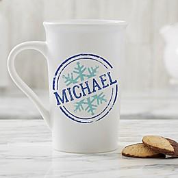 Personalized Stamped Snowflake 16 oz. Latte Mug