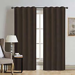 Therapedic® Carlisle Velvet 95-Inch Rod Pocket 100% Blackout Window Curtain Panel in Java