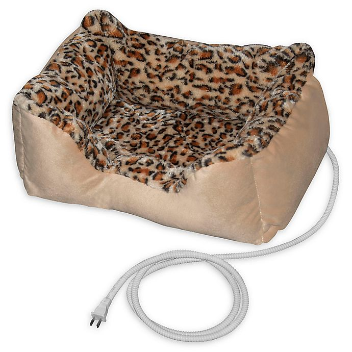 Alternate image 1 for Padded Heated Pet Bed in Leopard