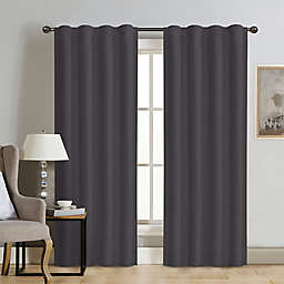 Therapedic® Carlisle Velvet 84-Inch Rod Pocket 100% Blackout Window Curtain Panel in Pewter