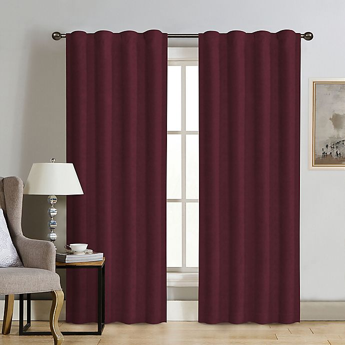 Alternate image 1 for Therapedic® Carlisle Velvet 108-Inch Rod Pocket 100% Blackout Window Curtain Panel in Merlot