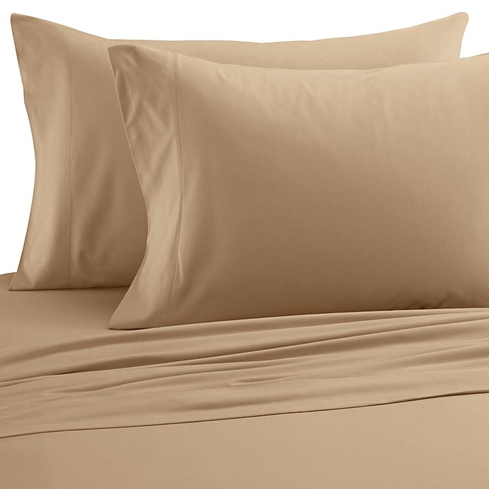 Alternate image 1 for Micro Flannel® Solid California King Sheet Set in Chino
