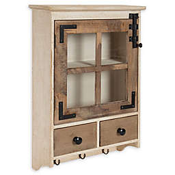 Kate and Laurel™ Hutchins Decorative Windowpane Wall Cabinet with Drawers in Natural