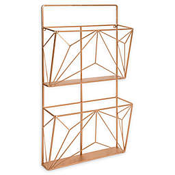 Kate and Laurel™ Tyde 2-Pocket Wall Organizer File Holder in Rose Gold