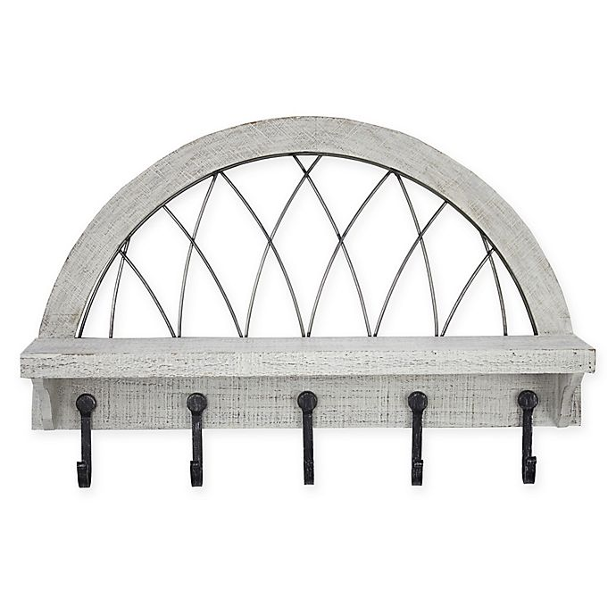Alternate image 1 for Masterpiece Art Gallery 16-Inch x 24-Inch 5 Hook Coat Rack with Shelf in Whitewashed Wood