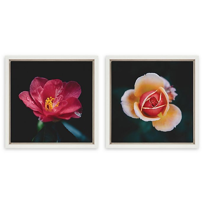 Alternate image 1 for Kate And Laurel® Sylvie Floral 2-Piece 13-Inch x 13-Inch Framed Canvas Wall Art