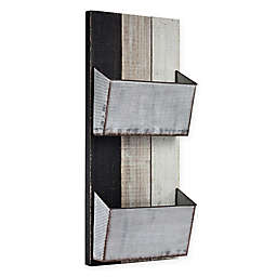 Masterpiece Art Gallery 28-Inch x 11.75-Inch Wood and Metal 2 Pocket Magazine Wall Organizer