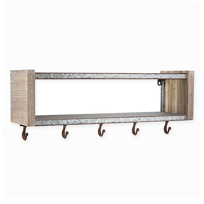 Alternate image 1 for Masterpiece Art Gallery 9.25-Inch x 24.5-Inch Wood and Metal Wall Shelf with Hooks