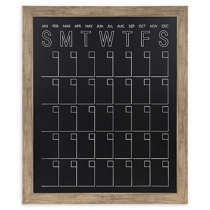 Alternate image 1 for Beatrice Framed Chalkboard Calendar in Rustic Brown