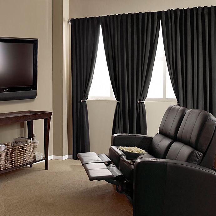 Alternate image 1 for Absolute Zero 63-Inch Velvet Blackout Home Theater Curtain Panel in Black