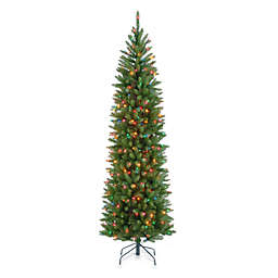 National Tree 7.5-Foot  Kingswood Fir Hinged Pre-Lit Pencil Christmas Tree with Multicolored Lights