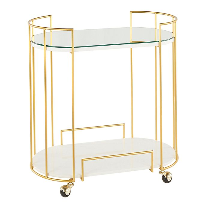 Alternate image 1 for Lumisource® Canary Mirror & Marble Bar Cart