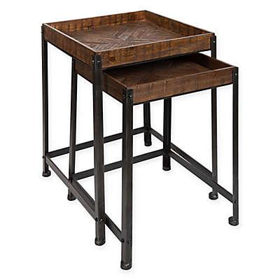 Kate and Laurel Marsh 2-Piece Nesting Table Set in Rustic Brown