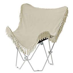 Folding Tassel Butterfly Chair in Beige
