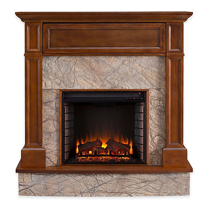Alternate image 1 for Southern Enterprises Holden Electric Media Fireplace in Whiskey Maple