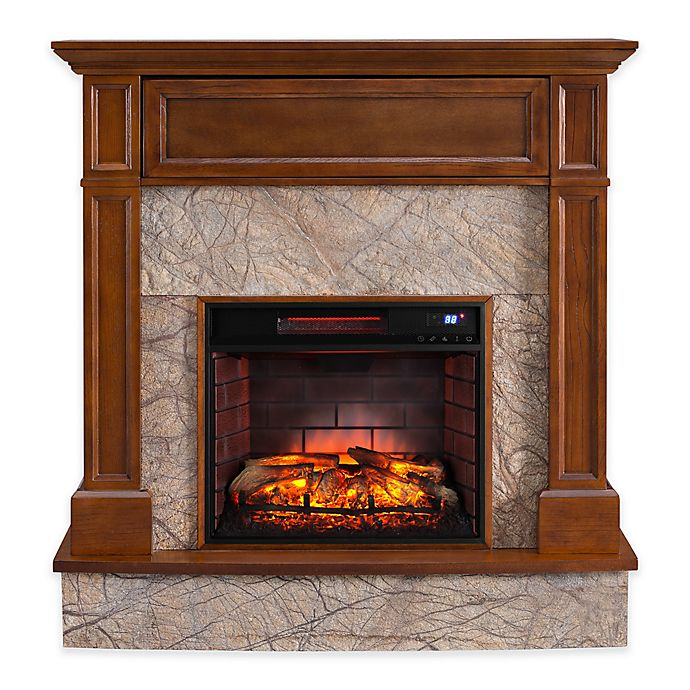 Alternate image 1 for Southern Enterprises Holden Electric Media Fireplace and Infrared Firebox in Whiskey Maple