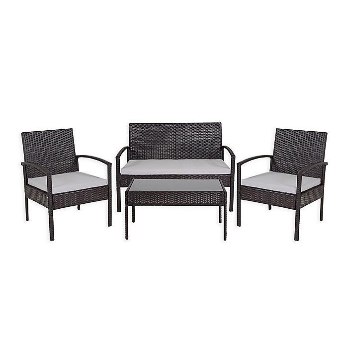 Flash Furniture Aransas 4-Piece Patio Set in Black/Grey ...