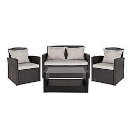 Flash Furniture Aransas 4-Piece Patio Set in Grey