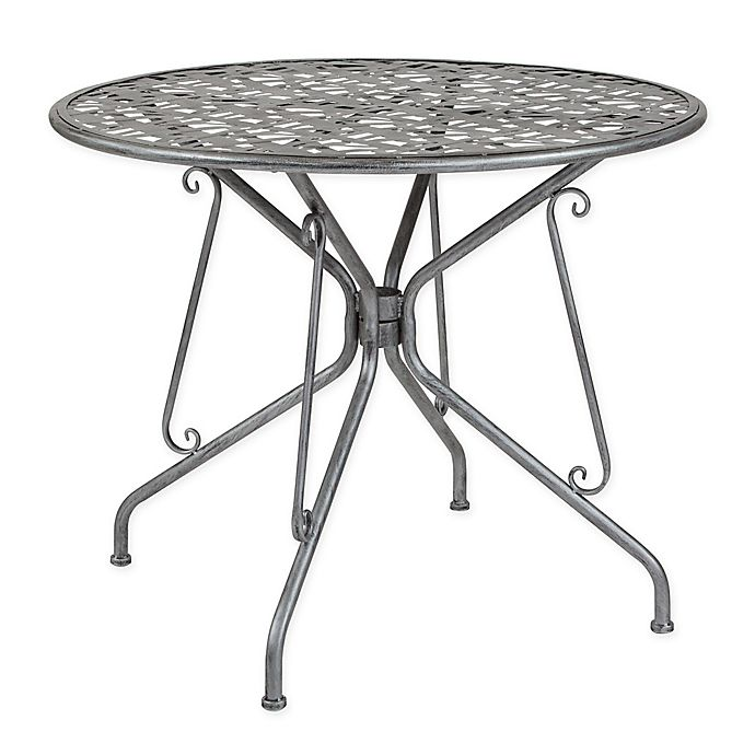 Silver Patio Furniture.Flash Furniture Agostina Round Outdoor Patio Table In Antique Silver