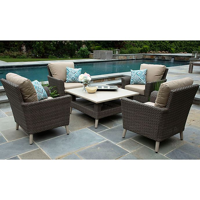 Alternate image 1 for Noble 5-Piece Outdoor Deep Seating Set in Heather Beige Subrella Fabric