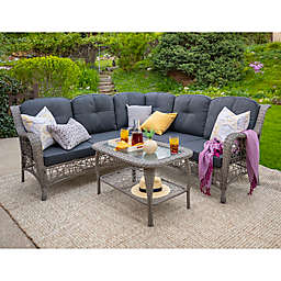 Forest Gate 4-Piece Patio Wicker Weave Sectional in Grey