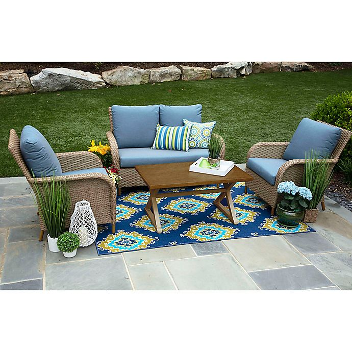Alternate image 1 for Tupelo 4-Piece Deep Seat Resin Wicker Furniture Set in Sunbrella® Denim