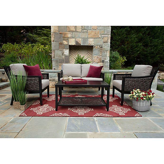 Alternate image 1 for Hawthorn 4-Piece Deep Seat Resin Wicker Furniture Set in Sunbrella® Shale