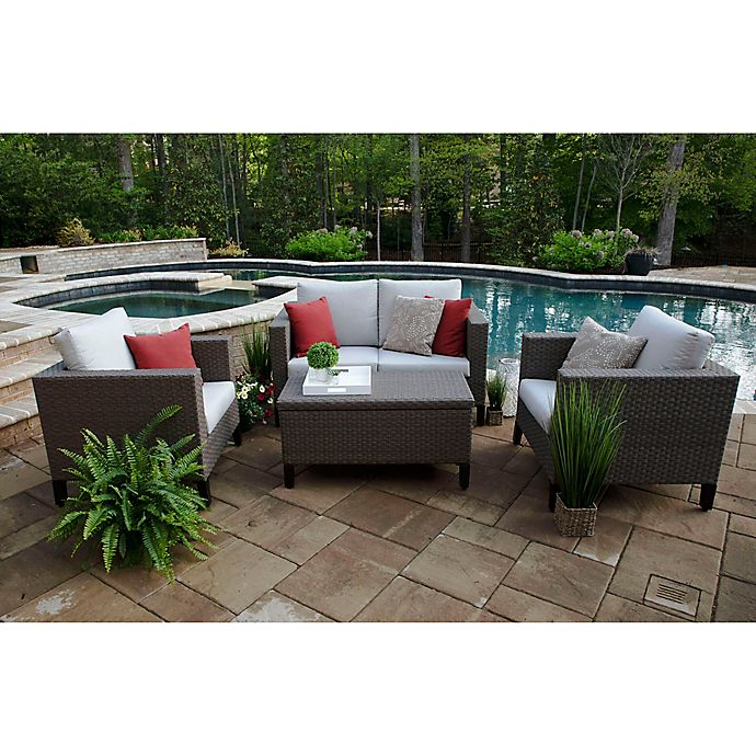 Alternate image 1 for Laurel 4-Piece Deep Seat Resin Wicker Furniture Set in Sunbrella® Silver