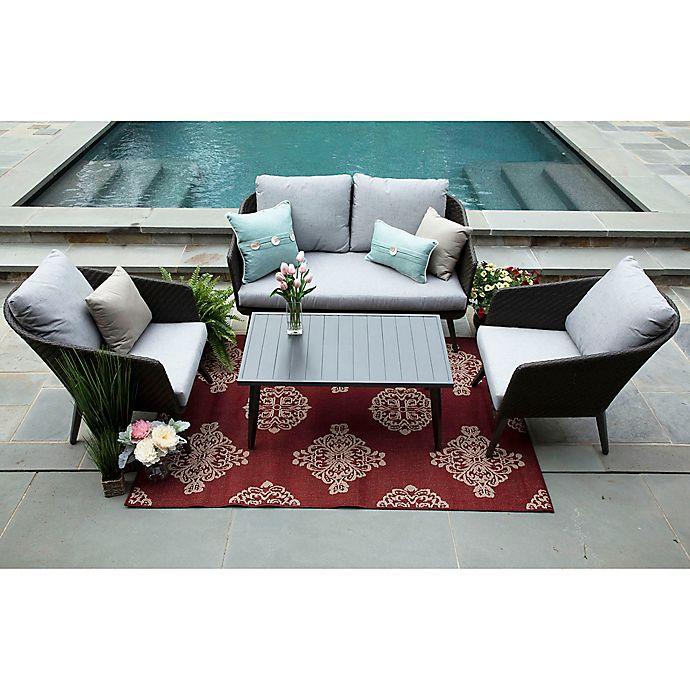 Alternate image 1 for Willow 4-Piece Deep Seat Resin Wicker Furniture Set in Sunbrella® Ash