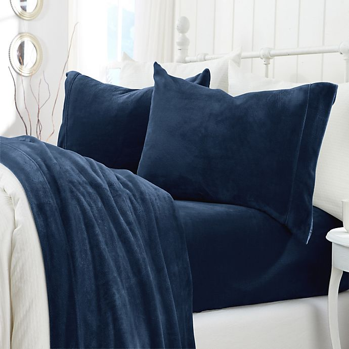 Alternate image 1 for Great Bay Home Velvet Queen Sheet Set in Denim Blue
