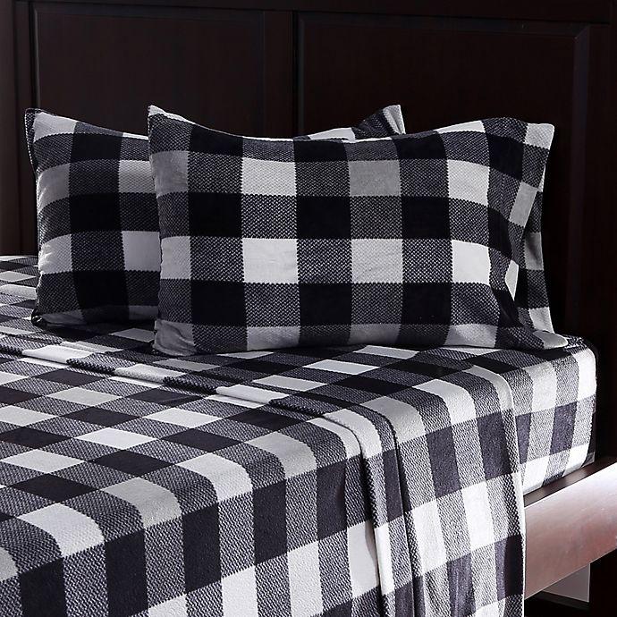 Alternate image 1 for Berkshire Blanket® Microfleece Knit Full Sheet Set in Black/White Plaid