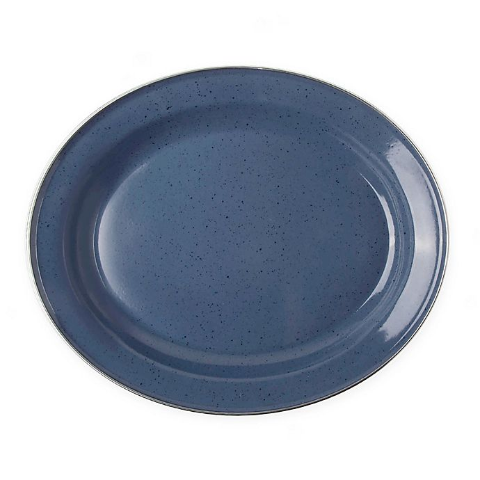 Alternate image 1 for Bee & Willow™ Home Milbrook 16-Inch Oval Platter in Blue