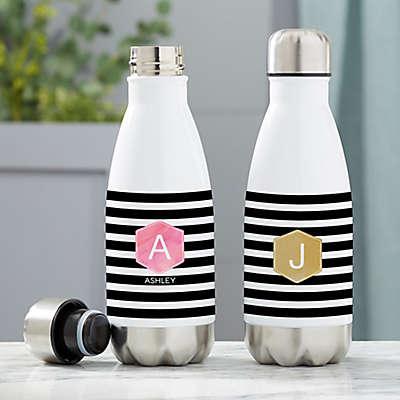Modern Stripe Personalized Water Bottle