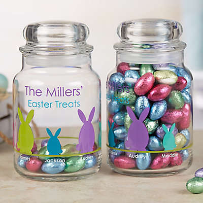 Easter Bunny Family Character Personalized Glass Treat Jar