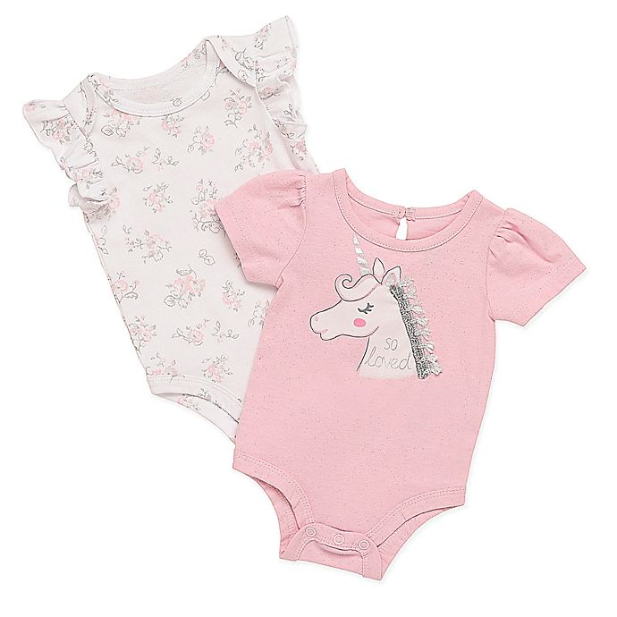 Alternate image 1 for Baby Starters® 2-Pack Unicorn Bodysuits in White/Pink