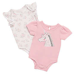 Baby Starters® 2-Pack Unicorn Bodysuits in White/Pink
