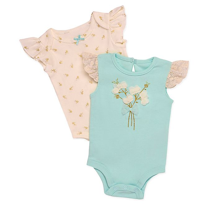 Alternate image 1 for Baby Starters® 2-Pack Flower Bouquet Bodysuits in Mint