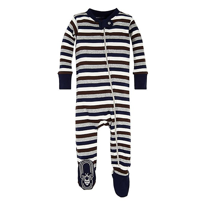 Alternate image 1 for Burt's Bees Baby® Stripe Footed Pajama in Navy/Brown