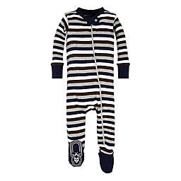 Burt's Bees Baby® Stripe Footed Pajama in Navy/Brown