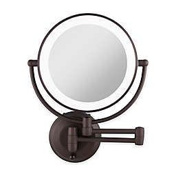 Zadro™ 10X/1X Dual-Sided Round LED Lighted Wall Mount Mirror in Oil Rubbed Bronze