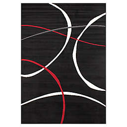 Novelle Home Carved Swoop Rug in Black