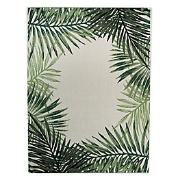 Destination Summer Miami Palm Border 5'3 x 7' Indoor/Outdoor Area Rug in Green