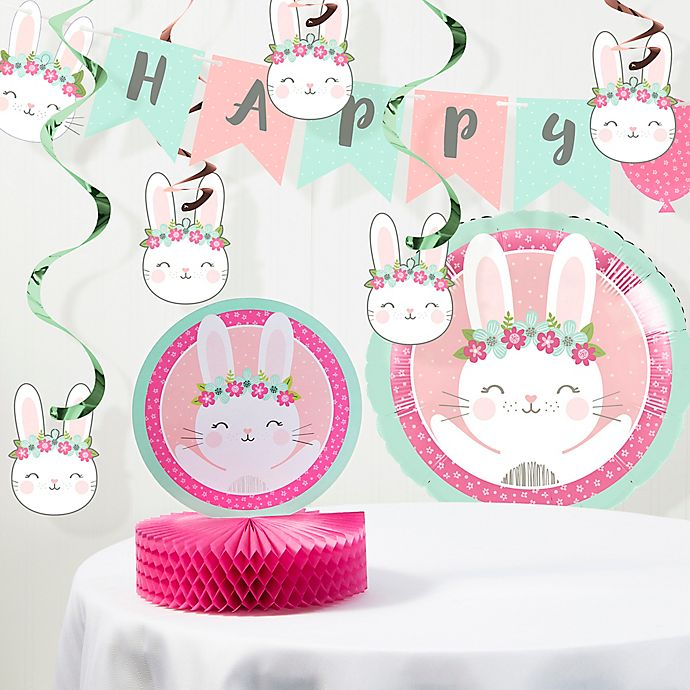 Alternate image 1 for Creative Converting™ 8-Piece Bunny Birthday Party Supplies Kit in Pink