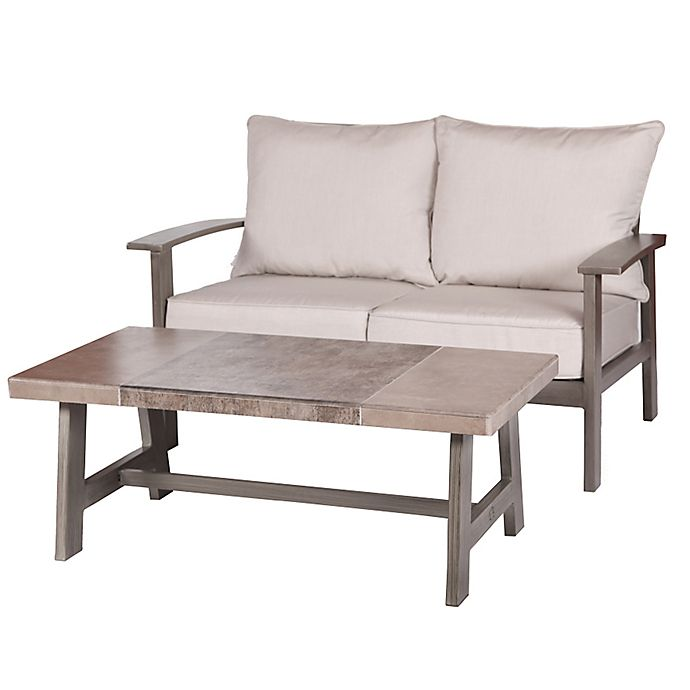 Alternate image 1 for 2-Piece Faux Wood Aluminum Loveseat and Tile-Top Coffee Table in Brown