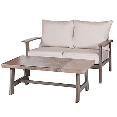 2-Piece Faux Wood Aluminum Loveseat and Tile-Top Coffee Table in Brown