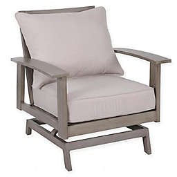Faux Wood Aluminum Motion Chairs in Brown (Set of 2)