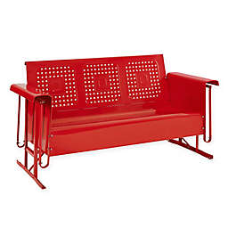 Crosley Bates All-Weather Steel Sofa Glider in Red