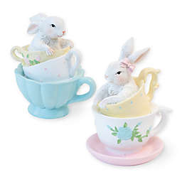 Boston International 2-Piece Teacup Bunny Figure Set