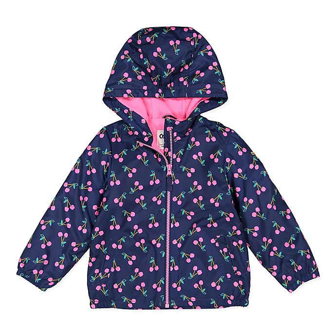 Alternate image 1 for OshKosh B'gosh® Cherry Hooded Jacket in Navy